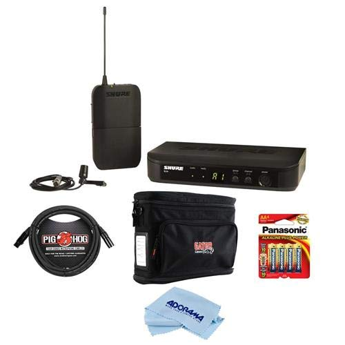 Shure BLX14/CVL Lavalier Wireless Microphone System, H9:512.125-541.800 MHz, Includes BLX4 Wireless Receiver, BLX1 Bodypack Transmitter, CVL Centraverse Lavalier Microphone - With Accessory Bundle by Shure