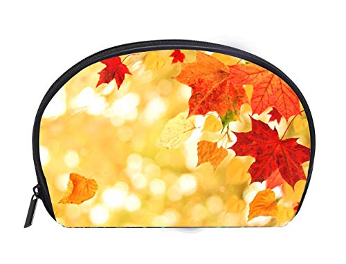 Portable Toiletry Cosmetic Bag Beautiful Autumn themed background Different multicolored dry maple leaves falling down with windy movement Travel Cosmetic Case Luxury Makeup Artist Bag
