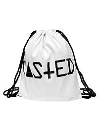 Drawstring Backpack Rucksack School Book Bag Gymbag Wasted White [010]