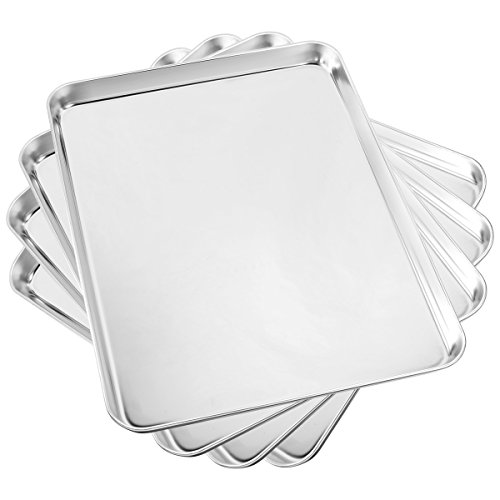 Baking Sheet Set of 4, Yododo Cookie Sheets Metal Stainless Steel Tray Baking Pans, Rectangle Size 16 x 12 x 1 inch, Mirror polishing & Dishwasher Safe, Non Toxic & Healthy, Rust Free & Easy Clean by Yododo
