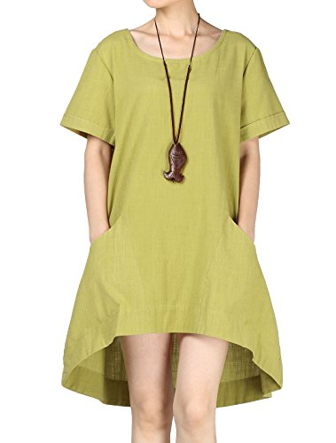 Mordenmiss Women's Cotton Linen Tunic Tops Hi-Low Dresses with Pockets (L, Chartreuse)