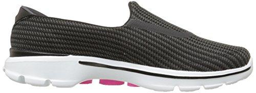 Go Women's Walking Walk 3 Black On White Slip Performance Shoe Skechers R6qwE46