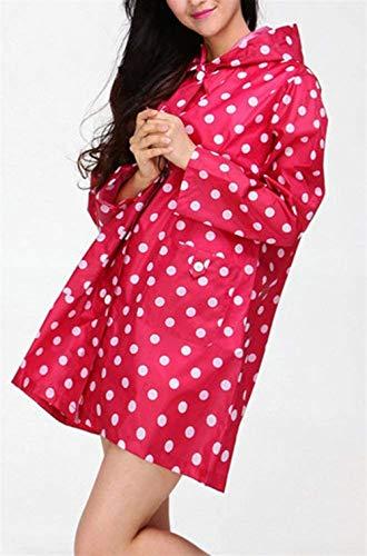 Pois Rose Imperméable Mess Capuche Dame Raincoat Casual De Dot Poches Avant Les wYw1Fx6qIP