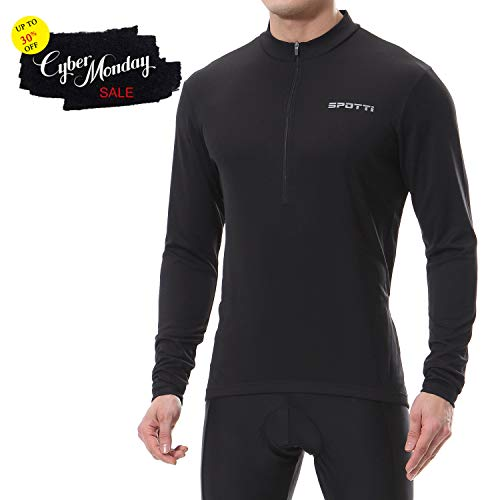 Spotti Mens Long Sleeve Cycling Jersey, Bike Biking Shirt- Breathable and Quick Dry (Chest 38-40 - Medium)
