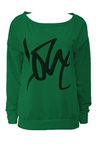 Verde Una Massimo Lunghe Camicia In Spalla Le A Maniche Al Donne Felpa qnf1vIwZP