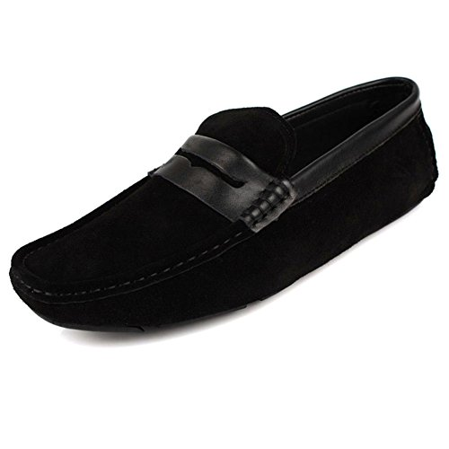 Santimon Mens Confort Décontracté Véritable Nubuck Cuir Extérieur Bateau Bas Chaussures Mocassins Mocassins Noir