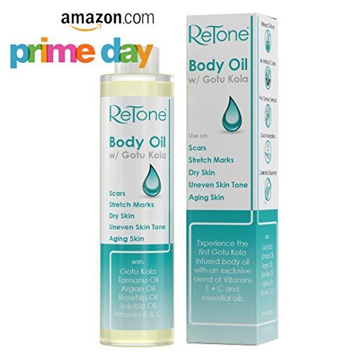 ReTone Body Oil: Stretch Mark Prevention -Non-greasy finish - Infused with Gotu Kola - No mess dispenser - Tamanu oil + Argan Oil + Rosehip Oil + Jojoba Oil + Vitamin E C (dry skin, uneven skin tone)