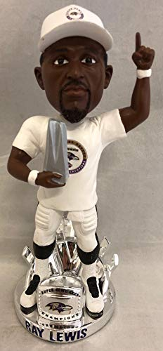 BD Ray Lewis Baltimore Ravens Super Bowl XXXV MVP Trophy/Ring NFL Bobble Head Limited Edition (Ring Ravens Baltimore Super Bowl)