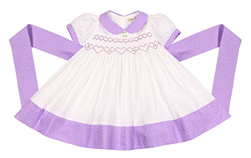 Babeeni Baby Girl Purple Dress Featured With Hand-Smocked Geometric Patterns On Chest and White Plain and Polka Dot Fabrics (18M) Infant Smocked Dress