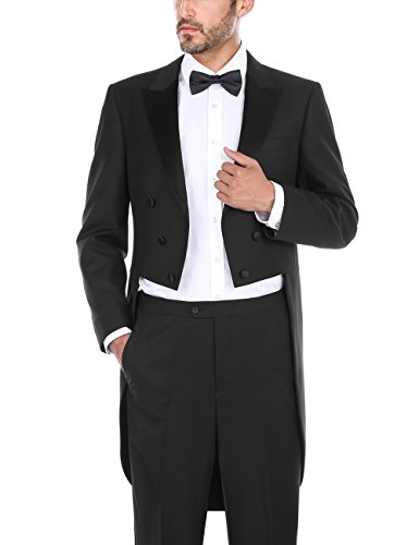Chama 2 Piece Men's Classic Fit Black Tuxedo Tailcoat Tail Coat Suit, Suit Jacket Blazer, Suit Pants (Black, (2 Piece Tail)