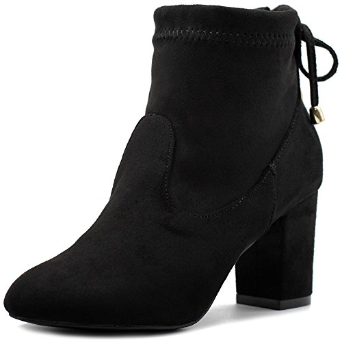 Ollio Women Shoe Adjustable Drawstring Faux Suede Ankle High Heel Boots TWB04(10 B(M) US, Black)