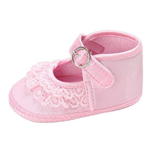 Clode® Baby Kleinkind Mädchen Spitze Cute Leopard Print Krippe Schuhe Soft Prewalker Schuhe Rosa
