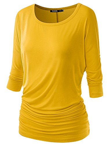 TWINTH Womens 3/4 Sleeve Boat Neck Cute Solid Shirring Dolman Drape Tops Yellow Large Drape Neck Knit Top
