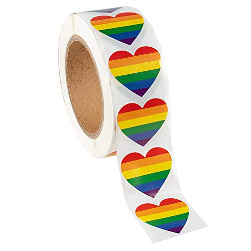 (Nrpfell Gay Pride Stickers-500-Count Love Rainbow Stickers Roll in Heart-Shaped,Pride Flag Labels for Gifts,Crafts,Envelope Sealing,1.6 x 2.0 Inches)