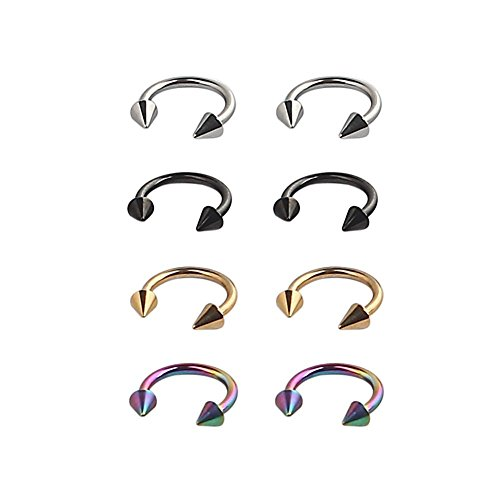 8PCS 16G 8mm Captive Bead Ring BCR and Horseshoe Circular Barbell CBR (Nose, - Circular Jewelry Body
