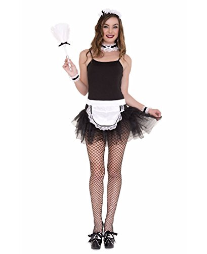 Maids Costume Accessories (Music Legs Women's French Maid Kit, Black/White, One Size)