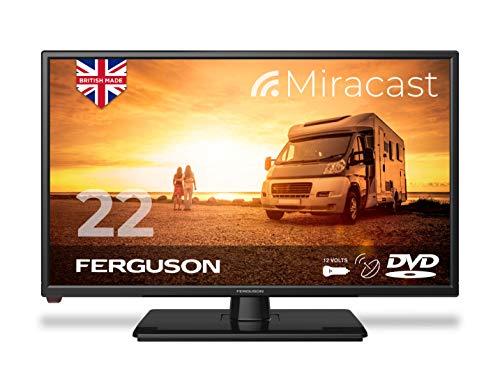 Ferguson F2220FMTR 22 inch 12 Volt Traveller Satellite LED/DVD TV 2020 Model Made in the UK, Black