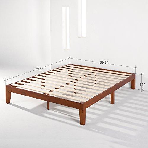 "Best Price Mattress 12"" Classic Soild Wood Platform Bed Frame w/Wooden Slats (No Box Spring Needed), Queen Size, Cherry"