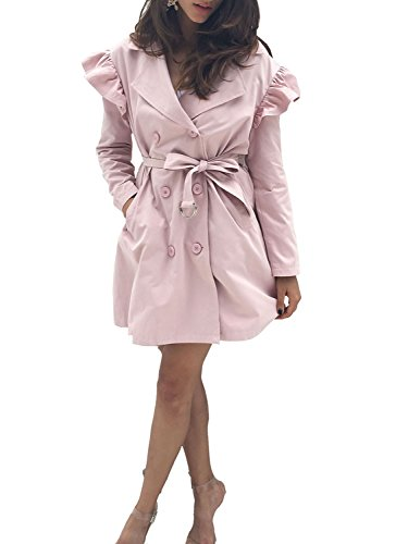 BerryGo Women's Lapel Collar Double Breasted Trench Coat with Belt(Pink,L)