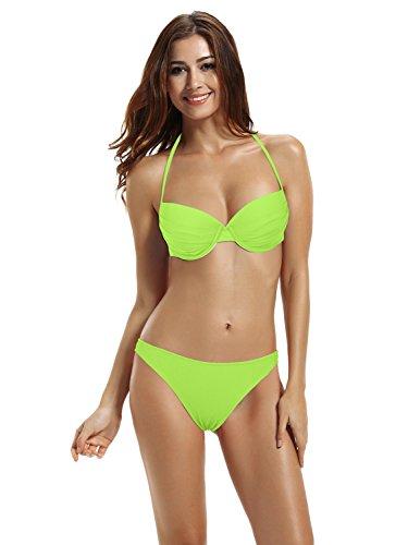 zeraca Women's Classic Vintage Brazilian Push up Bikini Bathing Suits (S6 34B, Lime Punch)