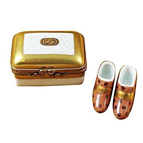 Gold box w shoes limoges porcelain figurine boxes authentic imports - Find porcelain accessory authentic ...