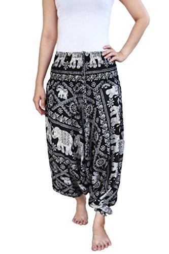 tuta Yaowaluck nbsp;in pantaloni Black donna da plissettati 1 Elephant Pantaloni stile Aladino 2 modello harem T7TZqaHrn