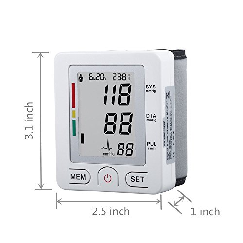 Fam-Health Portable Wrist Blood Pressure Monitor FDA Approved with Large Display, Two User Modes, Adjustable Wrist Cuff,IHB Indicator and 90 Memory Recall-White (U60BH) by Fam-health (Image #4)