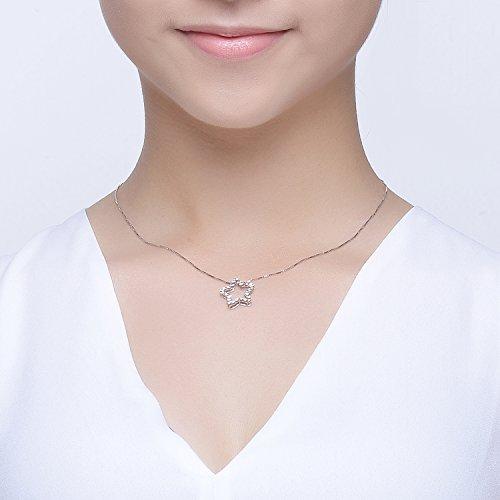14ct 585Or blanc diamant coupe ouvert étoile Collier (40,6cm/40cm) Femme Bijoux Cadeau pour anniversaire de mariage