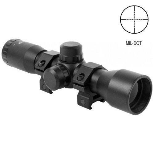 AIM Compact 4x32 Rifle Scope ( Mil-Dot Reticle ) with Ring Mounts Fits Weaver Picatinny Rails Fits Mossberg 715t MMR FLEX-22 , Hi-Point Carbine , Kel-Tec SU16 SU22 , Remington Model 597 Rifles