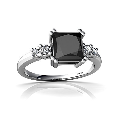 14kt White Gold Black Onyx and Diamond 6mm Square Art Deco Ring - Size 8 by Jewels For Me