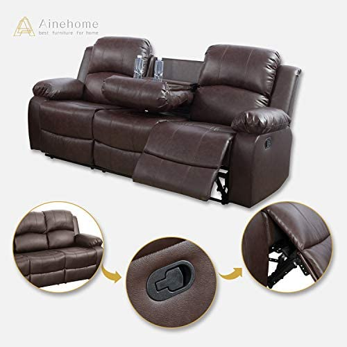 Brown,3 Piece Set Ainehome Furniture 3PC Sectional Sofa Living Room Office Sofa Set Drop Down Table Bonded Leather Motion Sofa Loveseat Manual Reclining Chair 3 Seater Couch