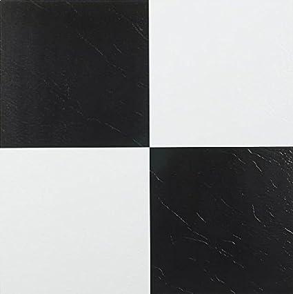 Nexus Black White 12 Inch X 12 Inch Self Adhesive Vinyl Floor Tile