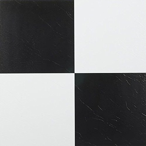 Black & White Checkered Vinyl Floor Tiles Adhesive Stick and Peel 12'' x 12'' 5-Pack (100 Pieces)