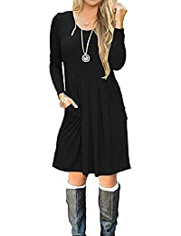 Women's Casual Pleated Loose Swing T-Shirt Dress With...