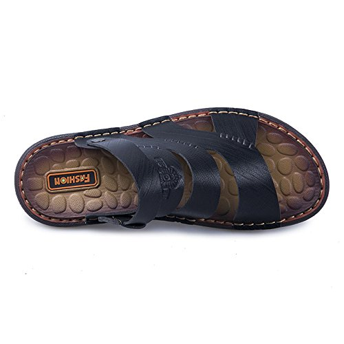 Soft Slip Beach Casual Men's Genuine CNBEAU Backless Black Adjustable Leather Slippers Non Shoes Flat Sandals qa08atZ