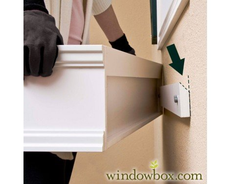 72 Inch Connecticut No Rot PVC Composite Flower Window Box w/ 2 Decorative Brackets by Windowbox
