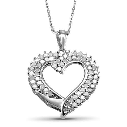 Jewelexcess 1.00 Carat T.W. White Diamond Sterling Silver Heart Pendant