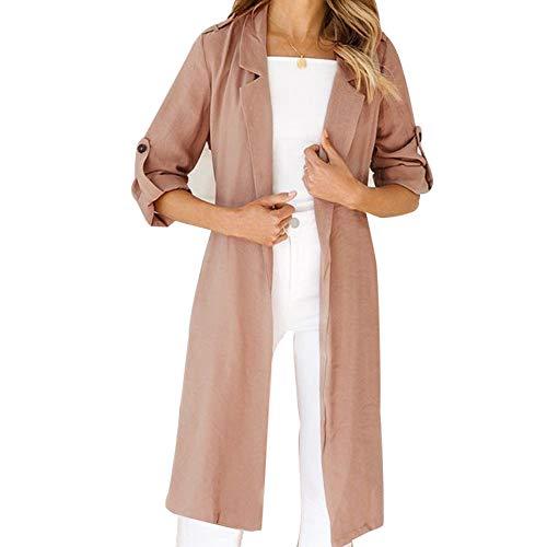 Franterd Women Coat Autumn Turn-Down Collar Cardigan Open Front Windbreaker with Belt Overcoat Outwear Pockets Jacket