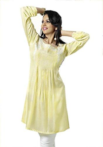 Jayayamala Mesdames Kurti Jaune travaux fil applique indienne kurti Kurta tunique femmes Coton Robe