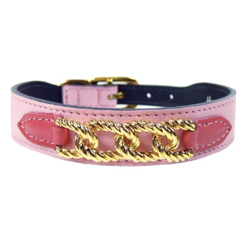 (Hartman & Rose Mayfair Collection Dog Collar, Sweet Pink/Petal Tabs, 12-14-Inch)