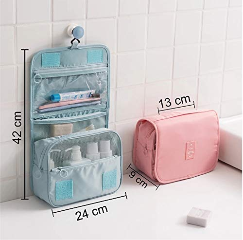 Hanging Toiletry Bag – Portable Hanging Toiletry Travel Bag Travel Organizer Bag Makeup Pouch Cosmetic Bag for Women and Girls Waterproof Pink Stripe
