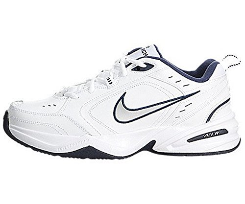 NIKE Men's Air Monarch IV Athletic Shoe, white/metallic silver, 9.5 Regular US