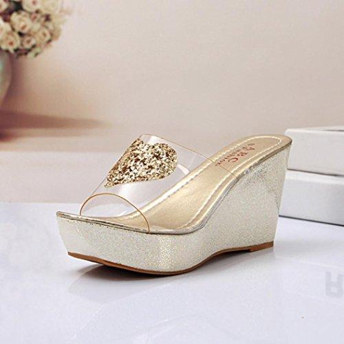 Ouneed ® Mujeres moda diamantes de imitación ocio Flip Flops sandalias Oro