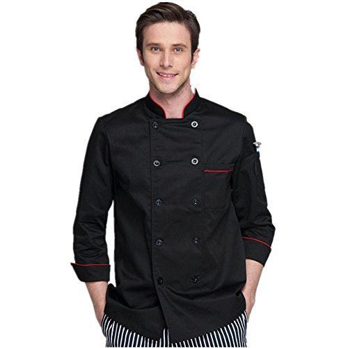 XINFU Long Sleeve Black Chef Coat with Red Piping
