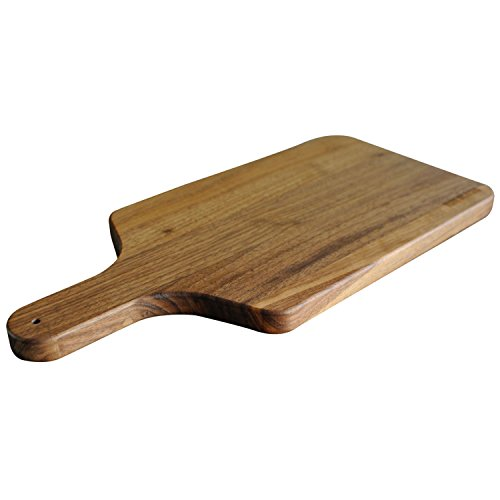 Walnut Wood Cutting Board with Handle by Virginia Boys Kitchens - 8x17 American Hardwood Chopping and Serving Rustic Paddle for Bread Cheese Charcuterie and Pizza
