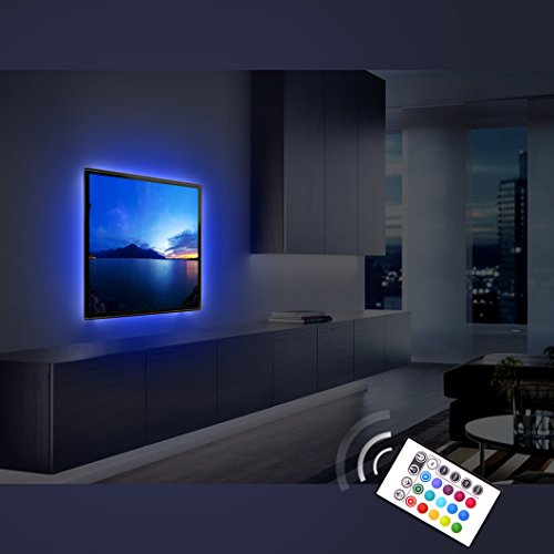Derlson Bias Lighting for TV, USB Powered LED Strip Light/Ambient Lighting backlights kit for Home-Theater, Furniture, (Multi-Color RGB, Remote Control)