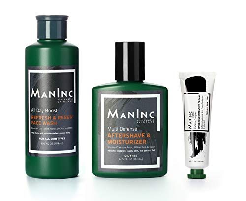 MANINC - Daily Essentials Grooming Skincare Kit for Men | FULL SIZE | All-In-One Kit with Oil Control Face Wash | Caffeine Eye Cream | Cooling Aftershave & Moisturizer | - Kit Skin Men Essentials