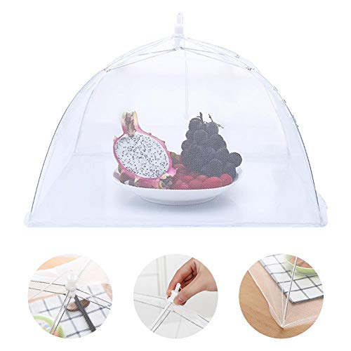 Lianle Food Cover,12 - Inch Food Cover Mesh Folding Removable Washable Flies Table Cover White Mesh Food Covers Umbrella Screen Tent Set for Beverages Perfect for BBQ Picnic Pool Outdoor Party