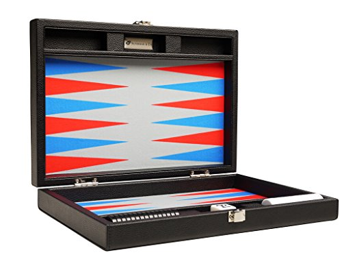 Red Leatherette Backgammon Set - Silverman & Co. 13-inch Premium Backgammon Set - Travel Size - Black Board, Scarlet Red and Patriot Blue Points