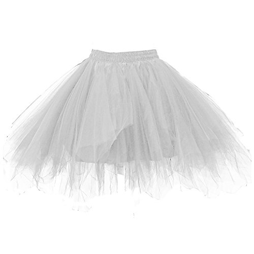 7b555d8480 Kileyi Womens Tutu Costume Adult Party Dance Tulle Skirt Short Fluffy  Petticoat Silver M